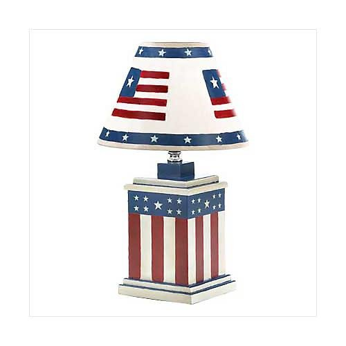 3918500: Vintage Patriotic Americana Lamp - Fourth of July Decor