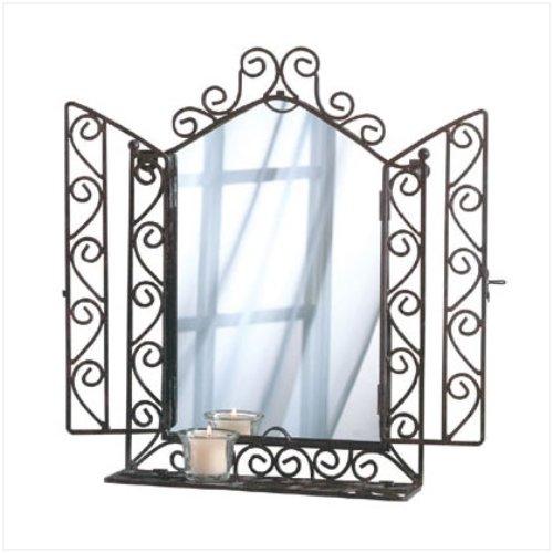 3240700: Wrought Iron Wall Mirror & Shelf