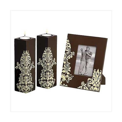 3964300: Woodland Trio Candle Holders and Picture Frame Matching Set - Home or Office Decor