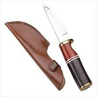 3928000: Exotic Wood Hunting Knife with Leather Sheath