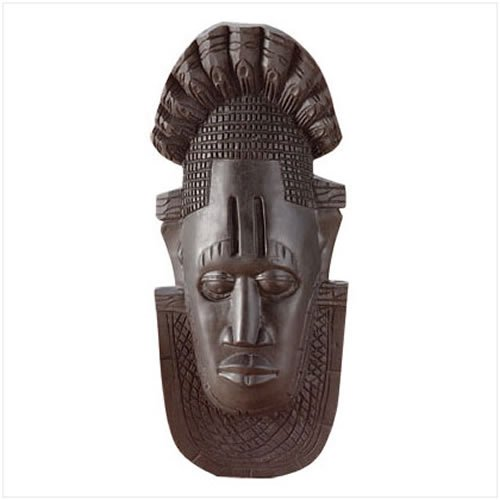 3329500: Ebony Finish African Mask Wall Plaque
