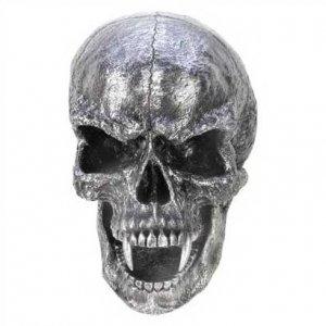 1261000: Huge Artistic Silver Vampire Skull Wall Plaque