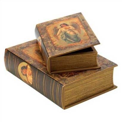 1294500: Angel Bible Storage Boxes - Religious Decor