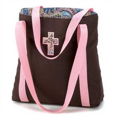 1314900: Paisley Praises Cross Tote - Religious Decor