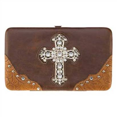1294100: Jeweled Cross Hinge Wallet - Religious Decor