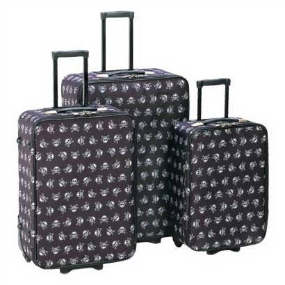 1293000: Stylish Skull and Cross-bones Luggage Set