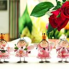 Darling Set of 4 Hand Painted Pink Metal Fairy Figurines All in Different Poses