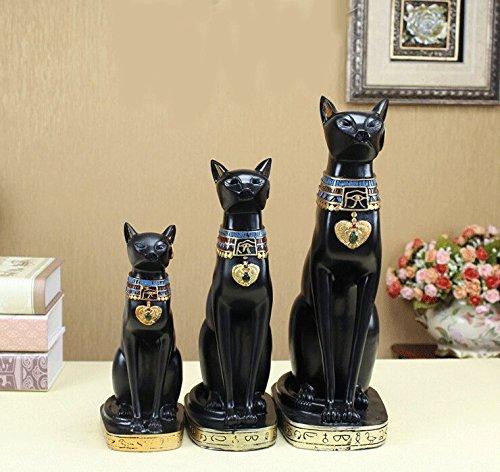 "12"" Matte Black Egyptian Ancient Style Cat Goddess Bastet Statue Medium Size"