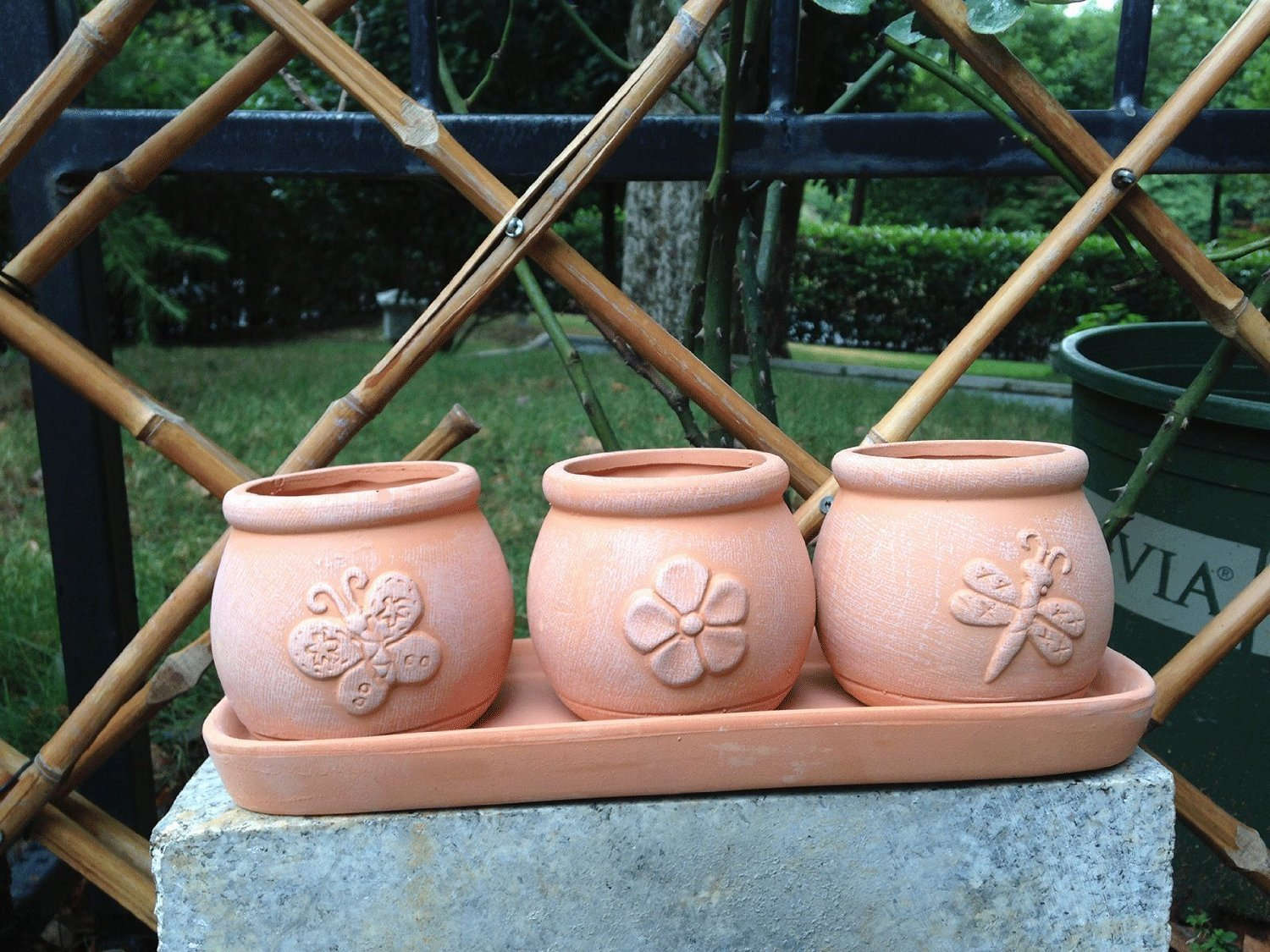 Terra Cotta Clay Set of 3 Small Round Embossed Earthenware Planters with Tray
