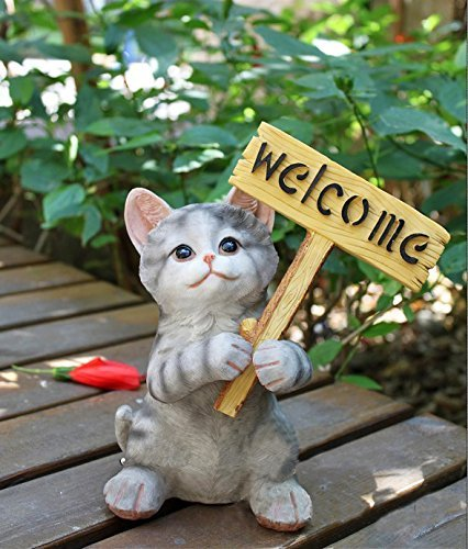 Decorative Kitten with Welcome Plaque Sculpture Statue