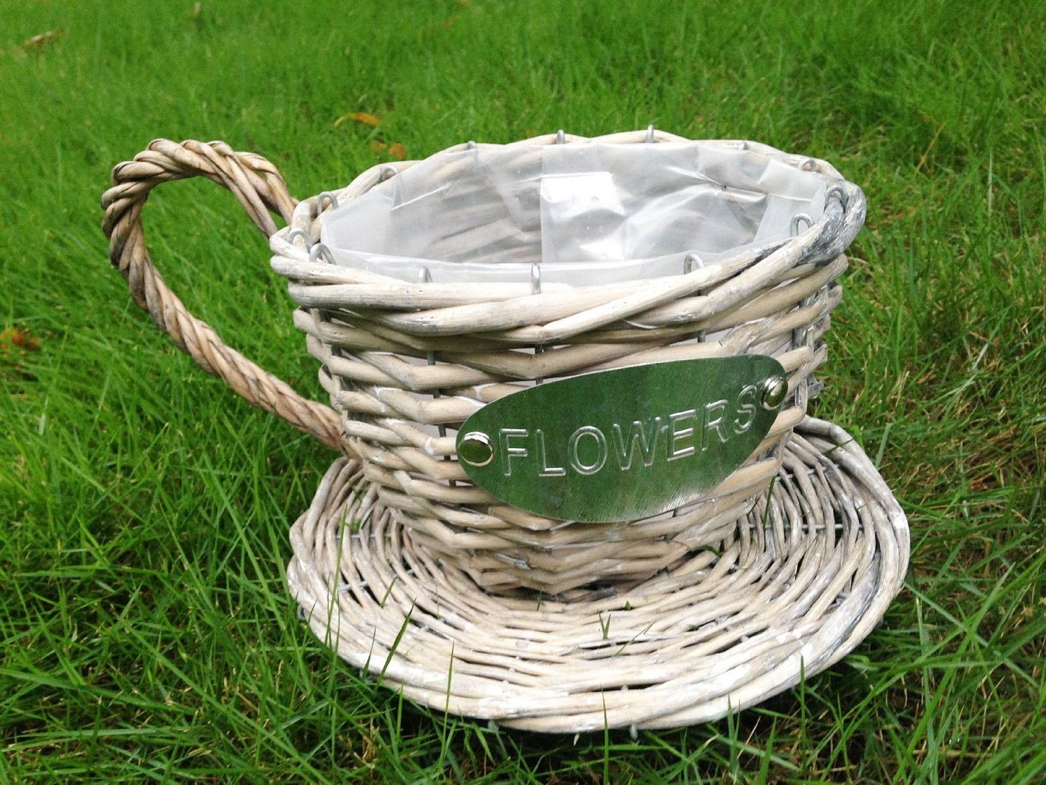 Handmade Wicker Coffee Cup Shaped Basket or Planter (Weathered Grey Color)