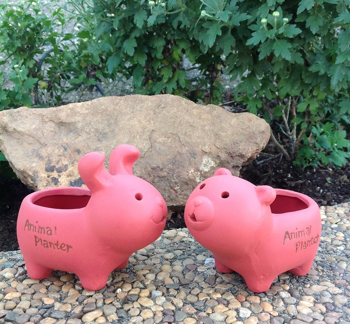 Set of 2 Adorable Terra Cotta Rabbit and Bear Shaped Mini Planters for Indoors or Outdoors