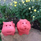 Set of 2 Adorable Terra Cotta Lion and Hippopotamus Shaped Mini Planters for Indoor or Outdoor Use
