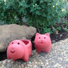 Set of 2 Adorable Terra Cotta Dog and Cat Shaped Mini Planters for Indoor or Outdoor Use