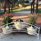 Antique White Iron Shaped Bridge with Three Planter Holders for Indoor or Outdoor Use