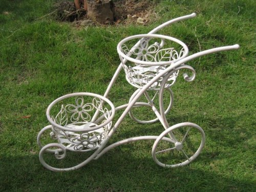 Antique White Iron 2 Handled Shaped Double Basket Planter Holder for Indoor or Outdoor Use