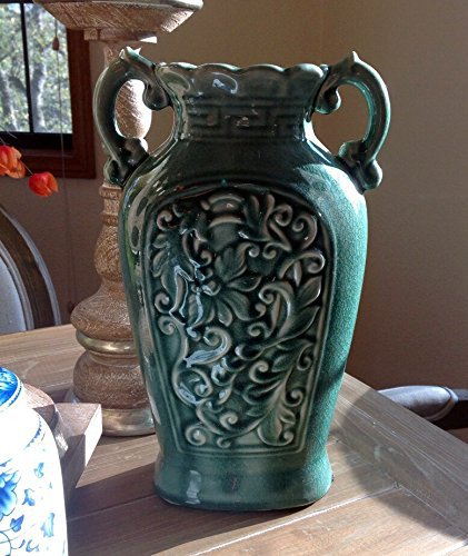 Fine Ceramic Teal Blue Ancient Aged Floral Embellished Asian Water Container