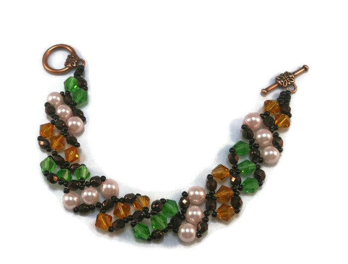 Hand Made Topaz, Green And Pink Slanted Women's Crystal Bracelet (B04643)