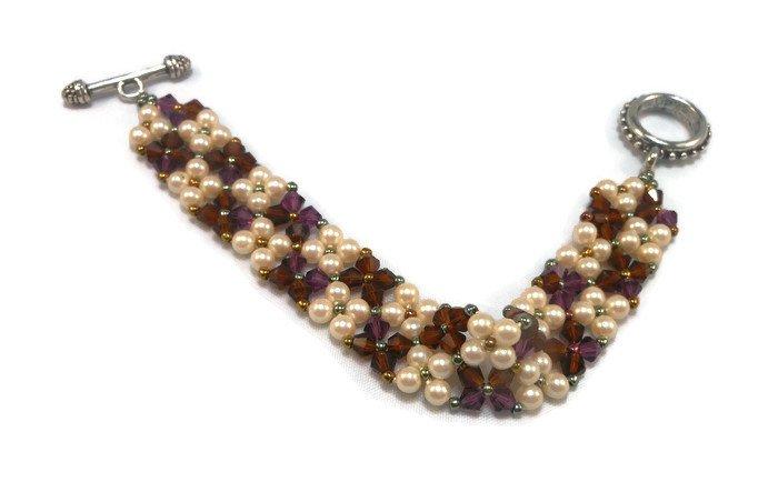 Hand Made Amethyst Crystal & White Pearl Bracelet (B03845)