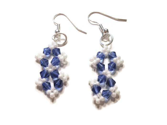 Hand Made Blue and White Women's Earrings
