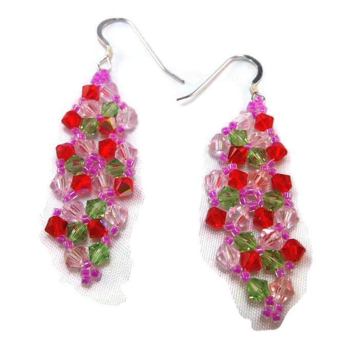 Hand Made Multi-Colored Crystal Earrings (E04928)