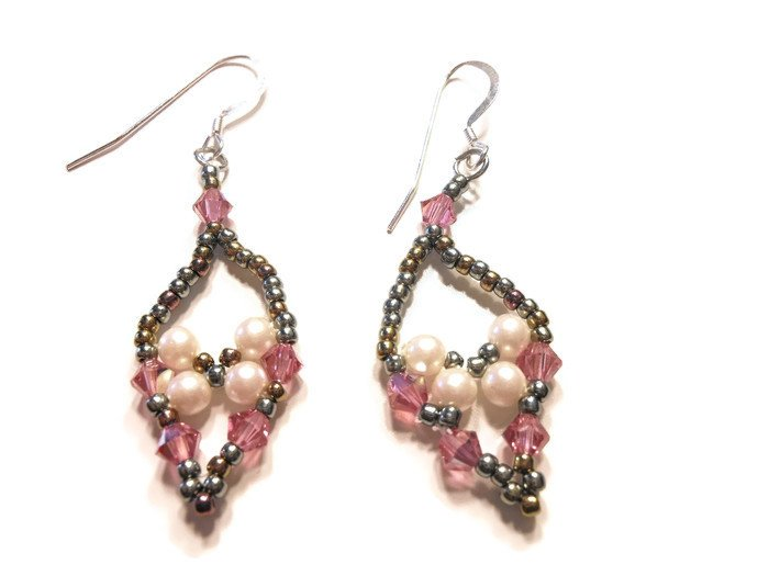 Hand Made White And Rose Colored Beaded Women's Earrings
