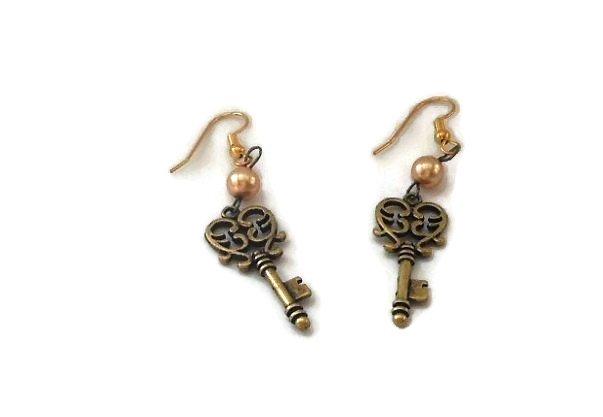 Hand Made Key Earrings (E01715)