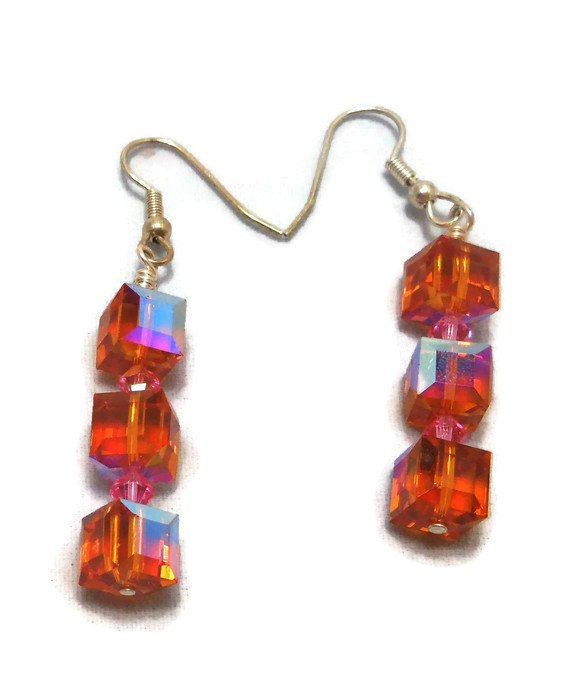 Hand Made Red Cubic Women's Earrings