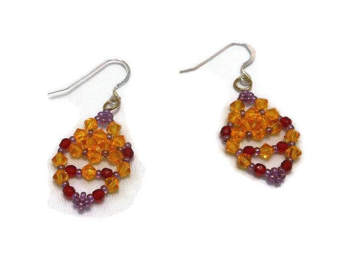 Hand Made Women's Crystal Sunflower Earrings (E05426)