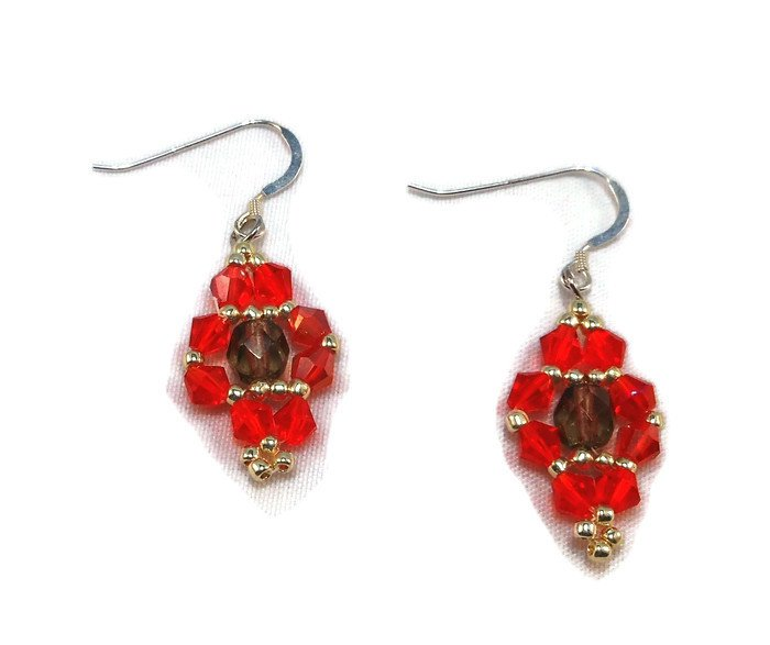 Hand Made Red Crystal Earrings (E05324)