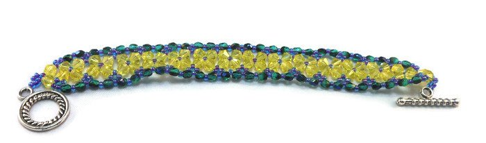 Hand Made Women's Lemon And Green Crystal Bracelet (B03544)