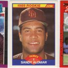 3 Sandy Alomar Rookie cards