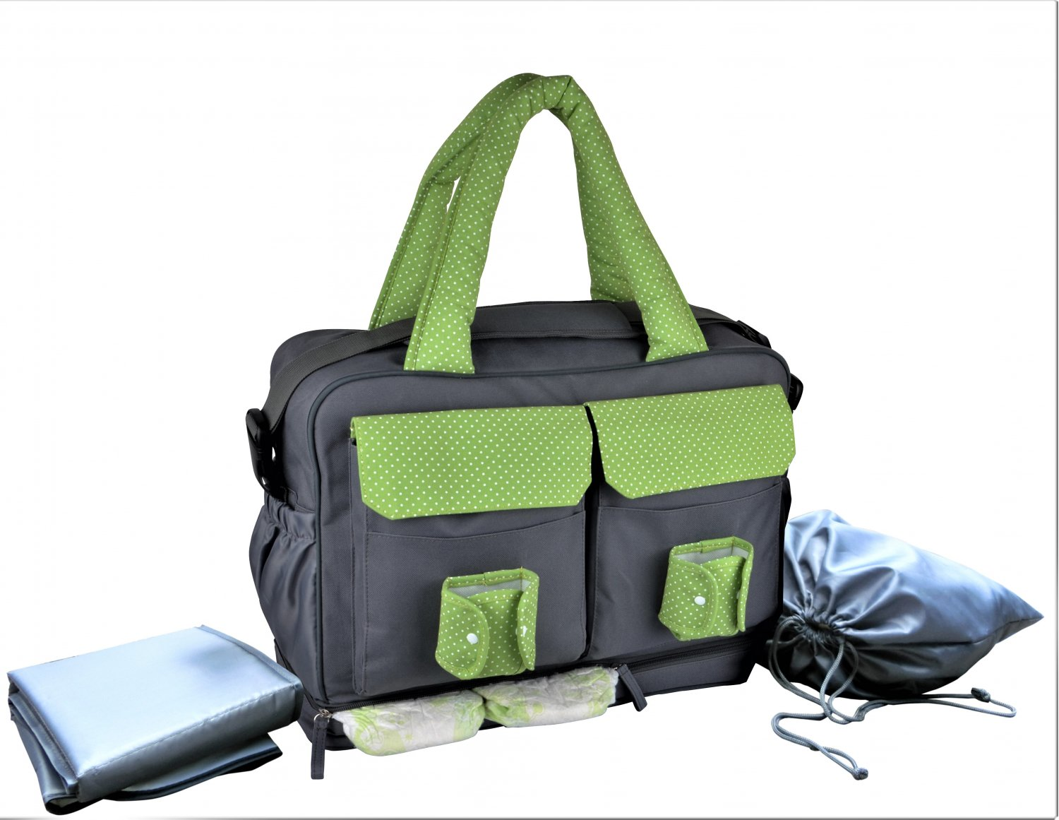 Convertible 3-in-1 Large Twins Diaper Bag Converts from a tote to a messenger or backpack