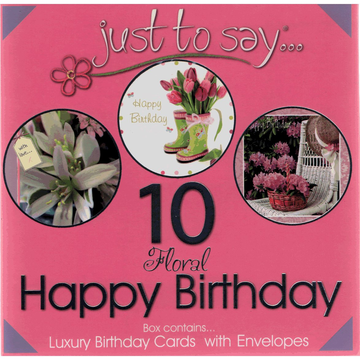 Happy Birthday Cards - Assorted Floral Notecards and Envelopes Boxed Set of 10