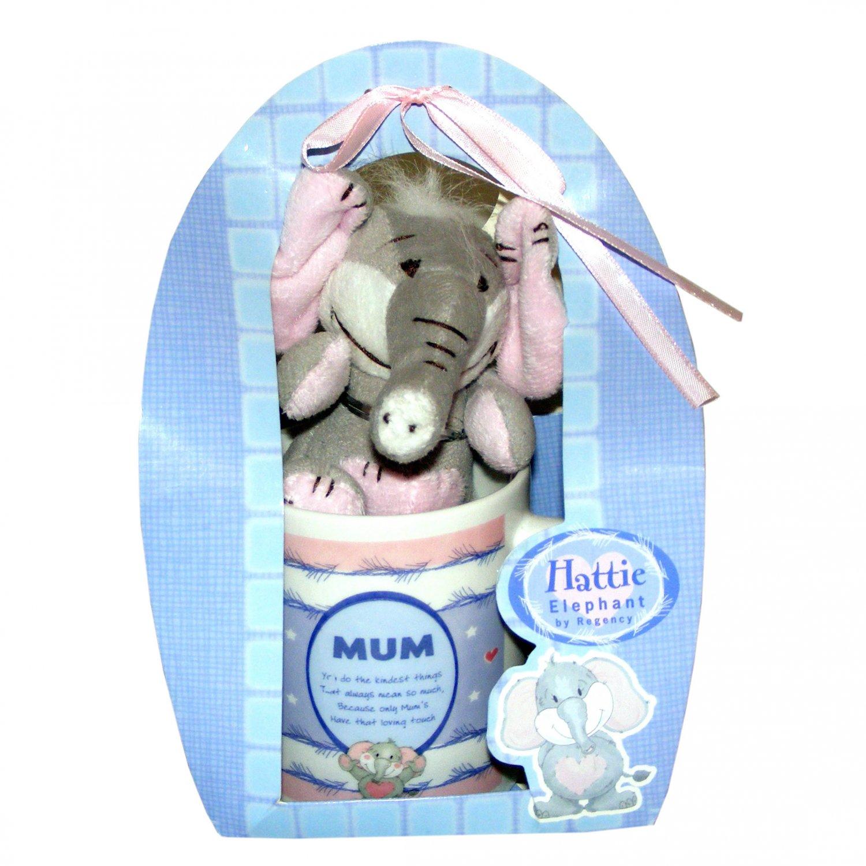 Grey Elephant Soft Toy and Mug Gift Set for Mother