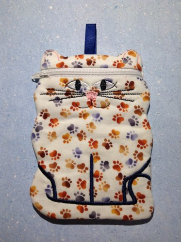 White with Brown and Blue Paw Prints Cat Zipper Bag