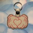 Mouse Gloves with Heart Glitter Vinyl Key Ring