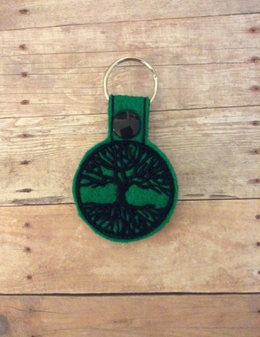 Tree of Life Green Felt Key Ring