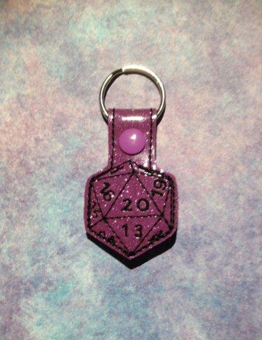 Purple Glitter 20 Sided Die Vinyl Key Ring