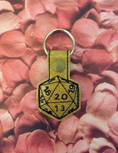 Gold Glitter 20 Sided Die Vinyl Key Ring