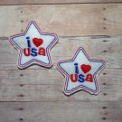 Pair of I Love USA Star Felt Snap Clips