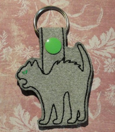 Gray Scary Cat Felt and Fabric Key Ring
