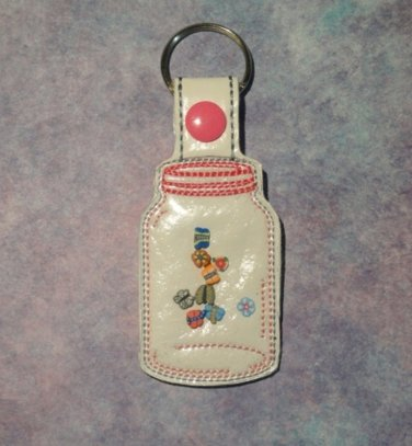 Mason Jar with Butterflies and Flowers Vinyl Key Ring