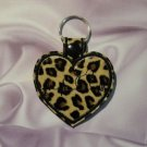 Leopard Print Heart with Cat Heartbeat Vinyl and Felt Key Ring