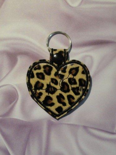 Leopard Print Heart with Cat Heartbeat Vinyl and Felt Key Ring