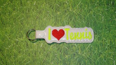 I Love Tennis Vinyl Key Ring