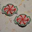 Pair of Red Swirl Candy Felt Snap Clips