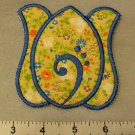 Reversible Tan Floral and Blue Tulip Flower Coaster