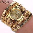 Women's Casual Vintage Multi-layer Wristwatch Weave Wrap Rivet Leather Bracelet Wrist Watch