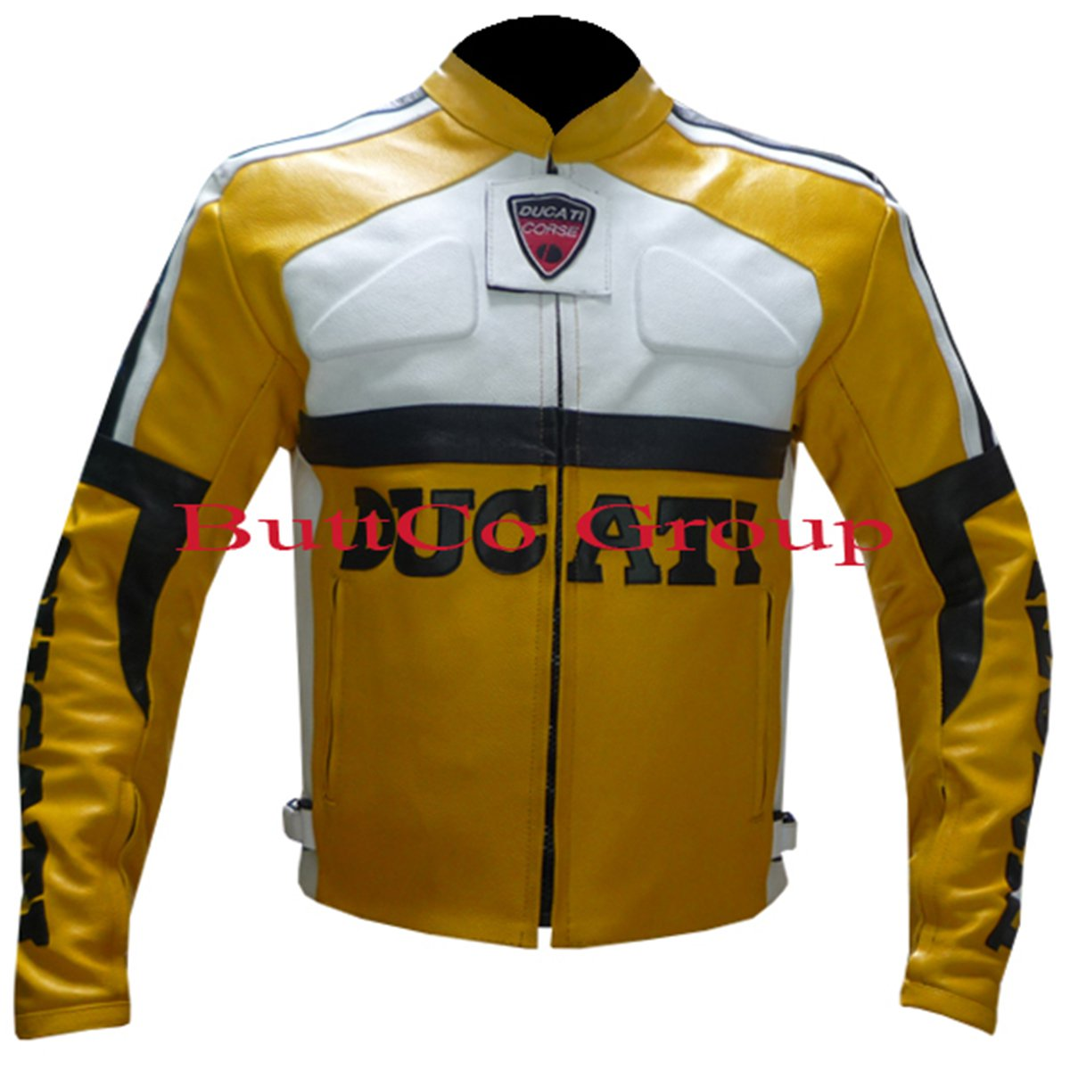 Ducati Yellow Motorbike Pure Cowhide Leather Safety Jacket--Free Shipping